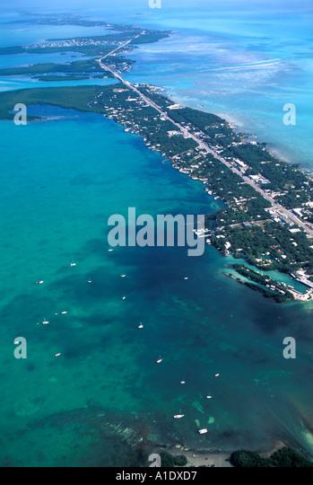 Florida Keys USA Overseas Highway Aerial - Stock Image