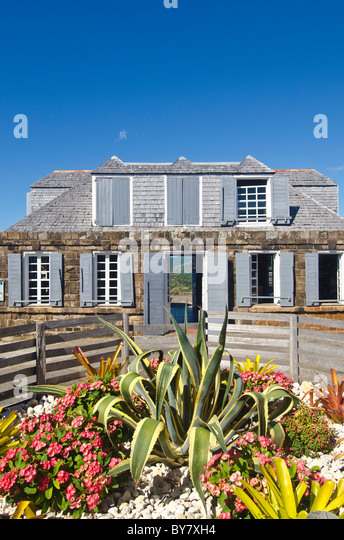 shirley heights lookout restaurant and bar, antigua, historic building at old military complex - Stock Image