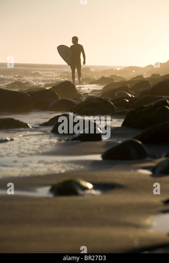 Sunset surf at Surfer's Point, Ventura, California. - Stock Image