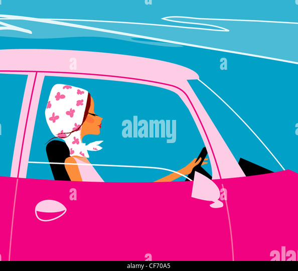 Illustration of female wearing a white headscarf with pink flowers, driving a pink car with the window open - Stock Image