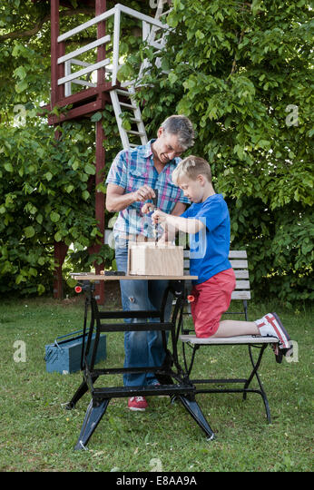 Building birdhouse father son together working - Stock Image