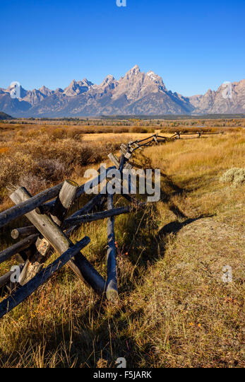 Range fencing and Teton Range, Grand Tetons National Park, Wyoming, USA - Stock Image