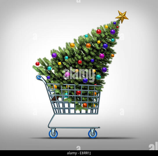 Christmas shopping concept as a store shop cart hauling a decorated festive holiday pine tree as a symbol for black - Stock-Bilder