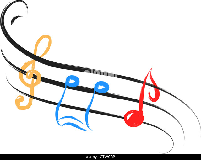 color music notes in abstract drawing style - Stock-Bilder