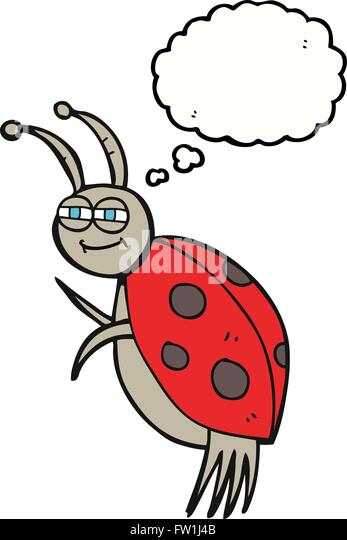 freehand drawn thought bubble cartoon ladybug - Stock Image