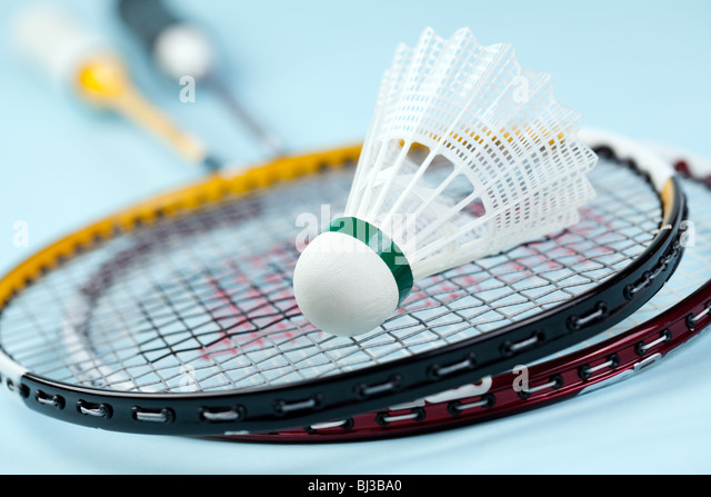 the photo shot of badminton shuttlecock - Stock Image