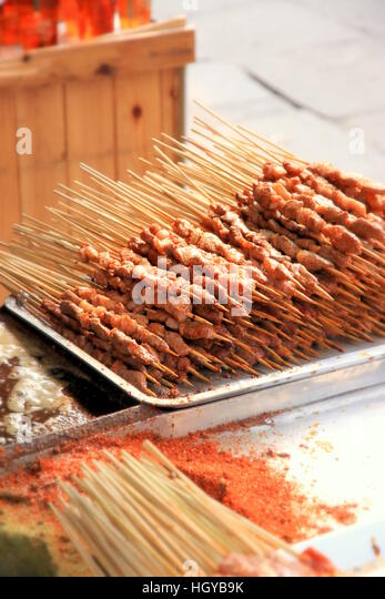 Mutton skewers on sale in Chongqing, China - Stock Image