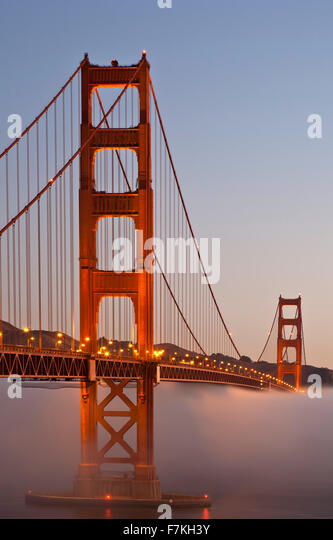 Golden Gate Bridge and fog, San Francisco, California USA - Stock Image