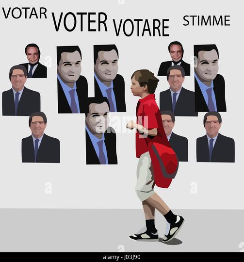 Vector concept of young voter and politics. Not real persons. - Stock Image