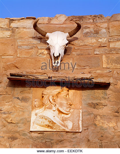 Entrance of the Navajo trading post, founded 1878.  Hubbell Trading Post National Historic Site, Arizona. - Stock Image