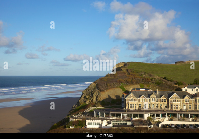 The Hotel, Watergate Bay, in winter sunshine, Newquay, Cornwall, South West England, UK, United Kingdom, GB, Great - Stock Image