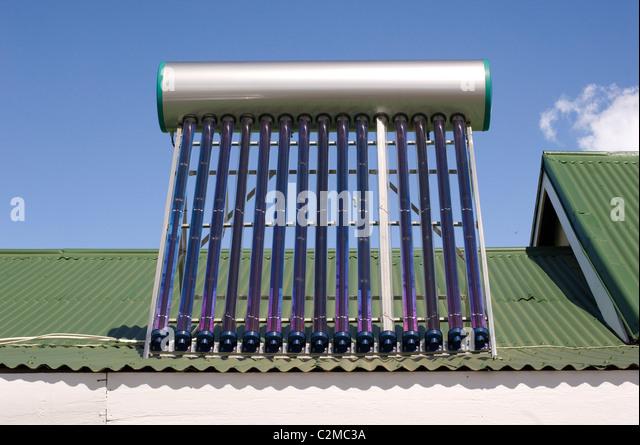 Rooftop solar water heater. - Stock Image