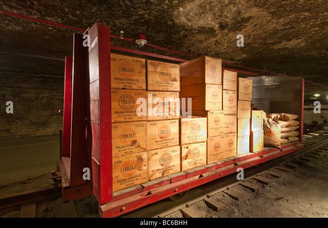 Explosives car, Kansas Underground Salt Museum, Hutchinson, Kansas. - Stock Image