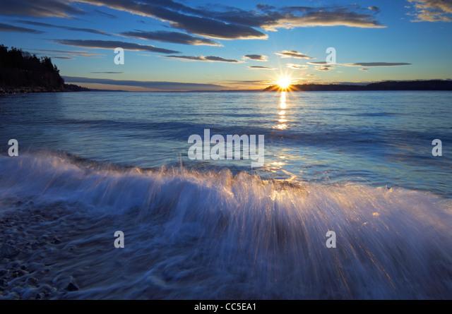 Sunset over Puget Sound at Mukilteo, Washington, USA - Stock-Bilder