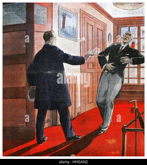 Assassination attempt on Roger Fachot, Attorney-General of Colmar, France in December 1928 - Stock Image