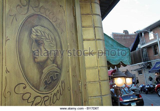 Baltimore Maryland Little Italy ethnic neighborhood Rocco's Capriccio restaurant business Italian cuisine window - Stock Image
