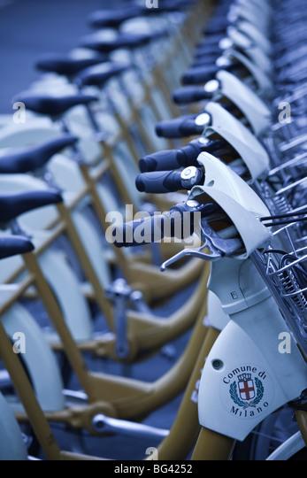 Italy, Lombardy, Milan, Bike Mi public rental bicycles - Stock Image