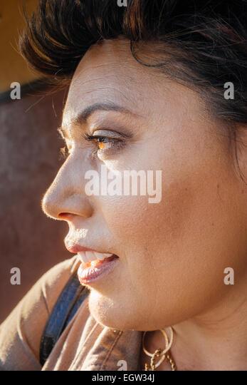 Uplcose profile of woman. - Stock Image