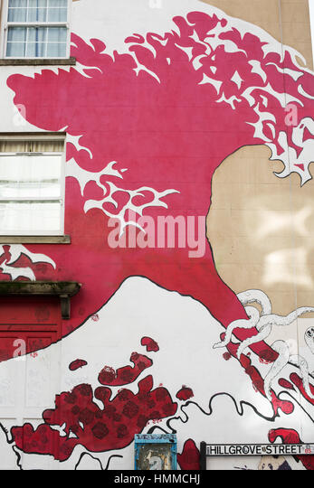 The Great Wave Graffiti Art Stokes Croft 2017 - Stock Image