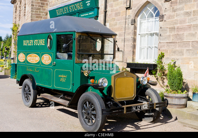 Ripley United Kingdom  city photo : Old style van for Ripley Stores, Ripley North Yorkshire UK Stock ...