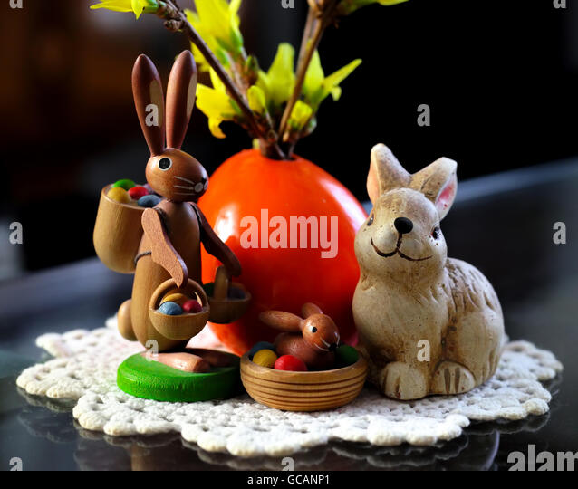 Easter Bunny nostalgic, friendly, colorful, child-friendly - Stock Image