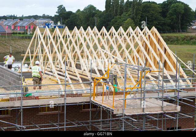 New Houses Brownfield Site Britain Stock Photos New