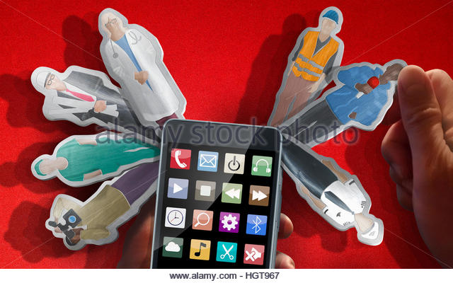 Smart phone as multi-tool with choice of occupations as blades - Stock-Bilder