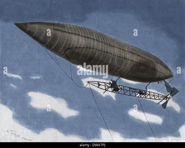 Alberto Santos-Dumont (1873-1932). Brazilian aviation pioneer. Flying dirigible. Engraving. Later colouration - Stock Image