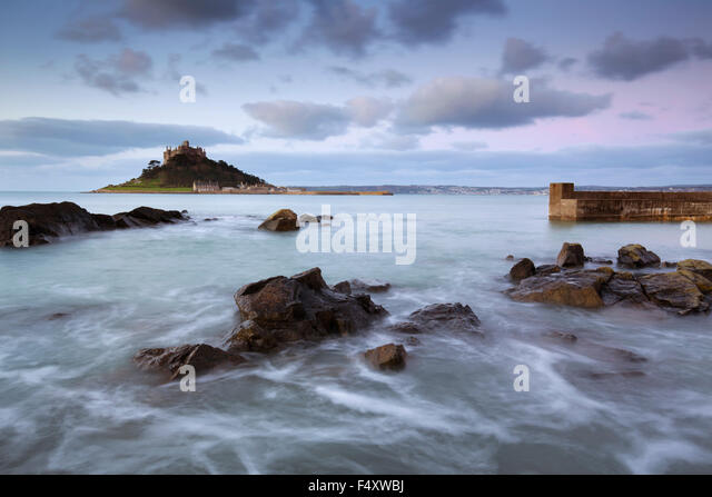 St Michael's Mount; Dawn From Marazion; Cornwall; UK - Stock Image