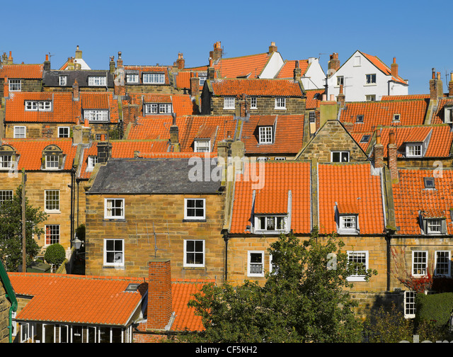 Roof tops of houses in Robin Hoods Bay, the busiest smuggling community on the Yorkshire coast during the 18th century. - Stock Image