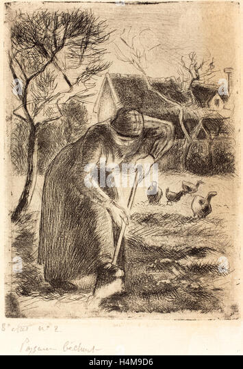 Camille Pissarro, French (1830-1903), Paysanne bêchant (Peasant Laboring), 1890, etching and aquatint in black - Stock-Bilder