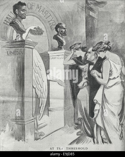 At the threshold - Political Cartoon with President William McKinley being welcomed into the Hall of Martyrs with - Stock Image