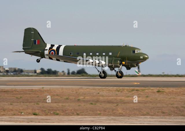 Douglas DC-3 Dakota of the Royal Air Force Battle of Britain Memorial Flight taking off - Stock Image