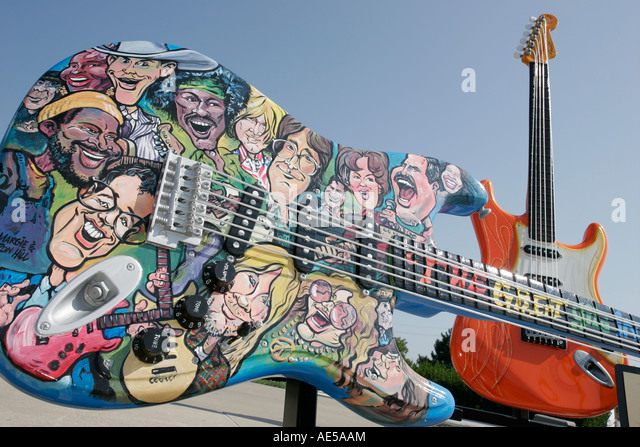 Cleveland Ohio, Rock and Roll Hall of Fame, guitar, Guitarmania, art, - Stock Image