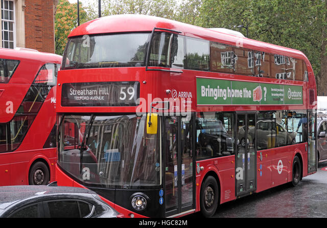 Red London New red Routemaster 59 to Streatham Hill - Stock Image