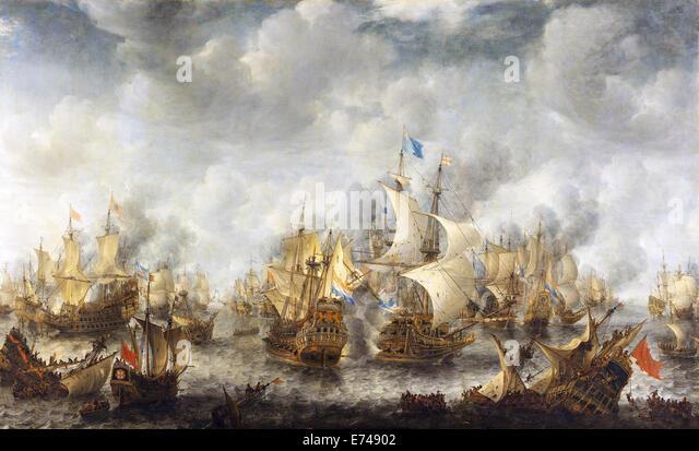 The Battle of Terheide - by Jan Abrahamsz Beerstraten, 1653 - 1666 - Stock Image