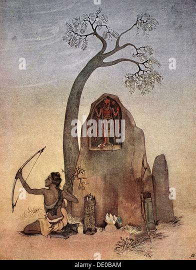 Ekalavya, 1913.  Artist: Nandalal Bose - Stock Image