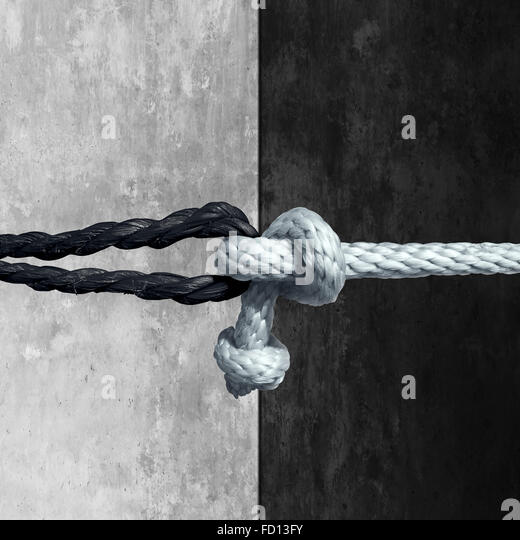 Racial unity concept as a symbol against racism in society as a white and black rope tied together as a metaphor - Stock Image