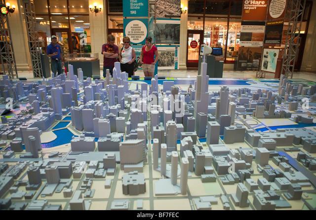 Chicago Model City, Chicago Architecture Foundation, Chicago, Illinois, United States of America - Stock Image