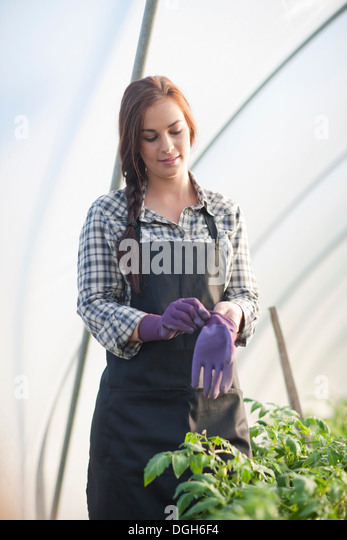 Young woman putting on gardening gloves - Stock Image