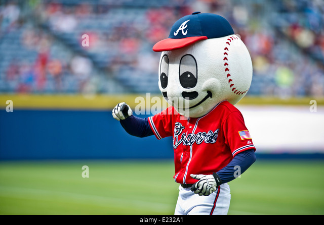 The Atlanta Braves professional baseball team mascot Homer the Brave during an event celebration the US Army's - Stock Image