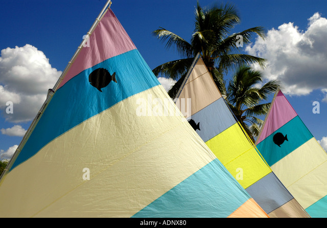 Dominican Republic Casa de Campo Resort beach with sailboats - Stock Image