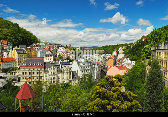 Historic spa section of Karlovy Vary, Bohemia, Czech Republic, Europe - Stock-Bilder