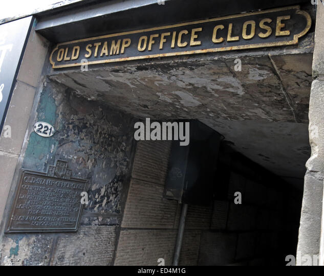 Old Stamp Office Close, off Royal Mile, Edinburgh City, Scotland, UK - Stock Image