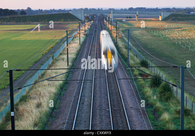 Intercity train on railway track, Cambridge England UK - Stock-Bilder