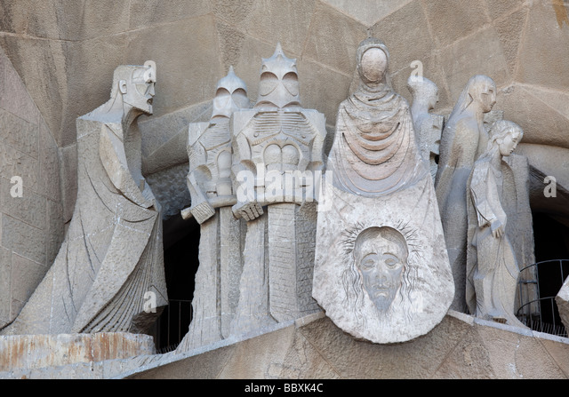 La Sagrada Familia Passion facade detail Barcelona Spain - Stock Image