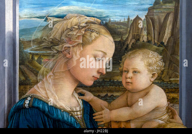Detail of Madonna and Child with Two Angels, by Filippo Lippi, circa 1465, Uffizi Gallery, Florence, Tuscany, Italy, - Stock Image