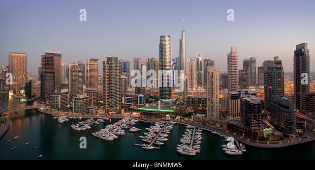 Dubai United Arab Emirates Middle East UAE Middle East skyline blocks of flats high-rise buildings sea Marina harbour - Stock Image