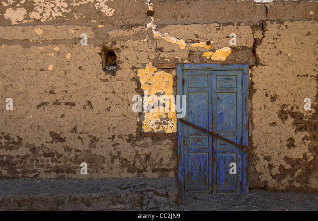 A blue door in Luxor town, Egypt. - Stock Image
