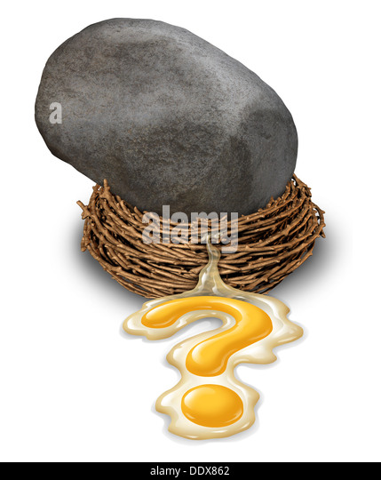 Financial impact concept as a nest egg disaster with a large boulder or rock that has fallen and crushed a retirement - Stock Image